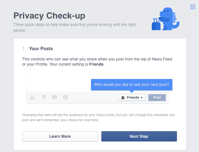 Facebook privacy check up