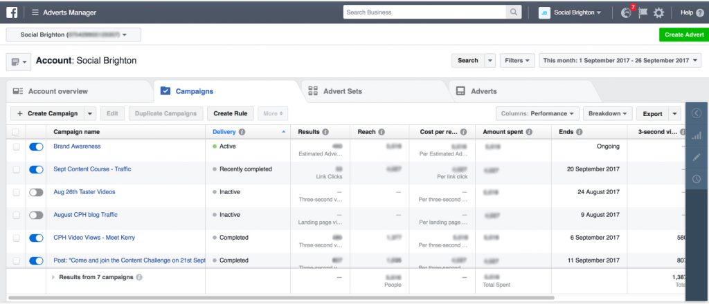 Facebook Advertising Business Manager Home