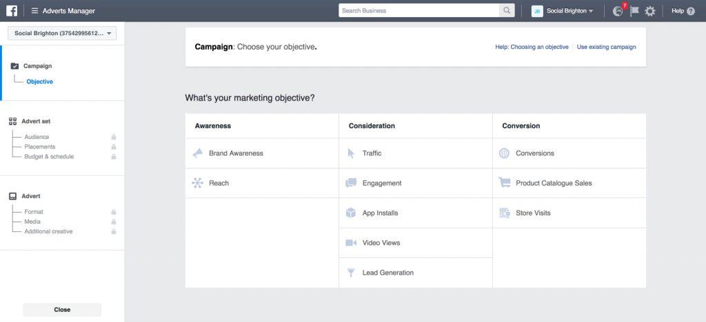 Social Media Facebook Objectives