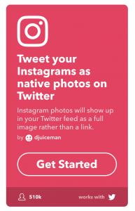 IFTTT applet Instagram & Twitter