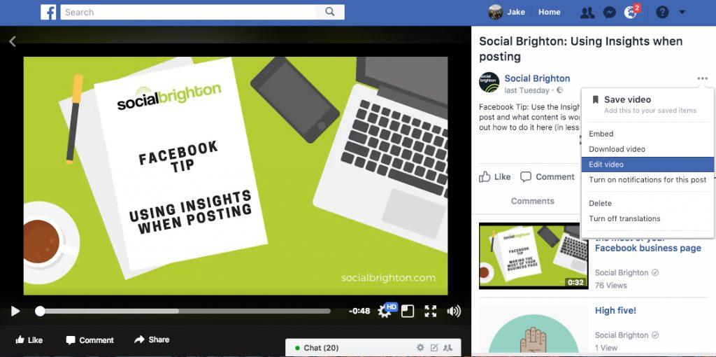 Edit Facebook Video via Page