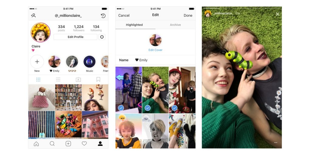 Social Media Instagram Stories Highlights and Archives