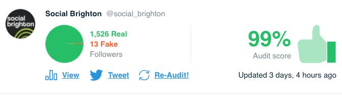 TwitterAudit for Social Brighton