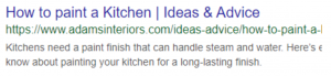 Google result - 'How to paint a kitchen' (Social Media and SEO - How to Combine both for a Winning Strategy)